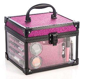 maleta clear pink