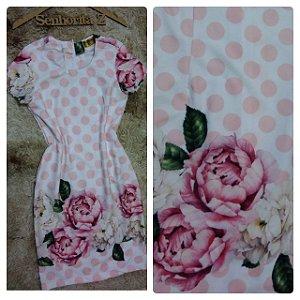 vestido Poá com flores RosÊ
