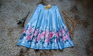 Saia  azul barrado  floral