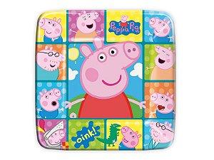 Prato quadrado 18 cm Peppa Pig festa