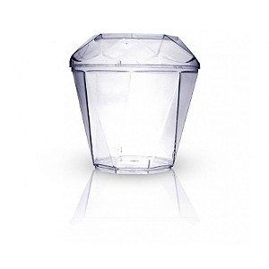 Copo plástico diamantico 20 ml com tampa c/10