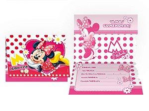 Convite de Festa de Aniversário Minnie Vermelho C/8