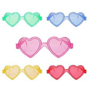 Óculos Acrílico Coração Sortido C/10