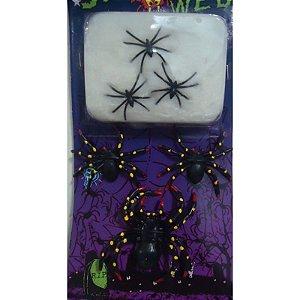Kit aranha com teia Halloween C/4