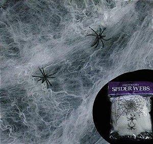 Teia De Aranha Halloween Branca Com Mini Aranhas
