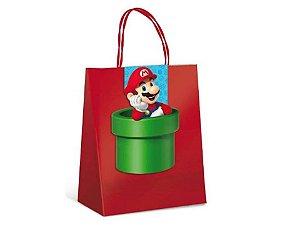 Sacola De Papel C/ Fechamento Super Mario C/10