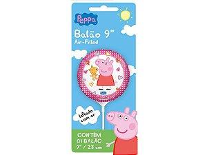 """Balão 9"""" Metal Peppa Pig Cartela"""