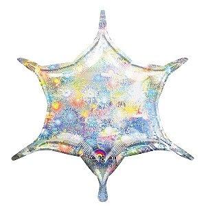 Balão Metalizado Decorador Estrela 6 Pontas Holográfico