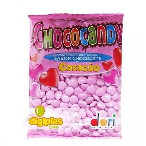 Bala de Chocolate Confeitada em Coração Rosa 350g