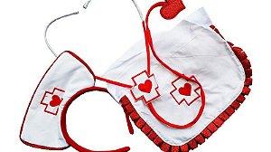Kit Enfermeira Sexy Branco e Vermelho