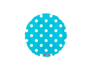 Balão Metalizado Decorador Standard Círculo Poá Azul
