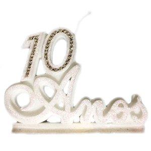 Vela 10 Anos Luxo Prata Com Pavio Mágico