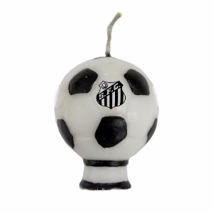 Vela Formato Bola Santos F.C. Com Pavio Mágico