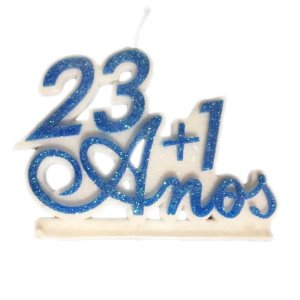 Vela 23+1 Anos Azul Luxo Com Pavio Mágico