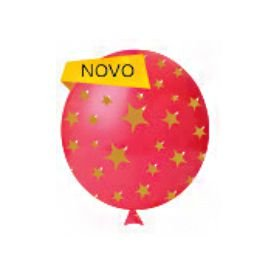 Balão Happy Day N11 Happy Stars Vermelho Com Dourado C/25