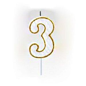 Vela Numérica Dourado N°3