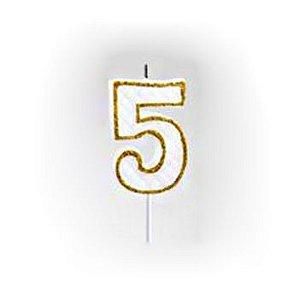 Vela Numérica Dourado N°5