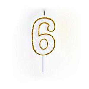 Vela Numérica Dourado N°6