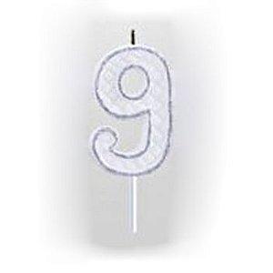 Vela Numérica Prata N°9