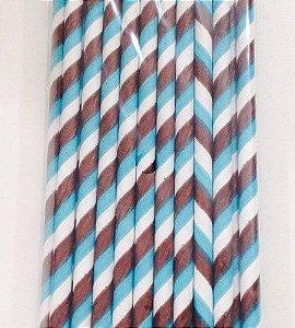 Canudo Papel Listrado Azul/Marrom C/20