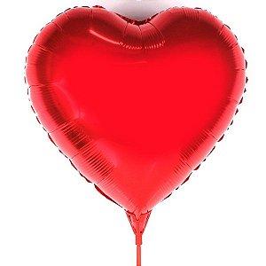 Balão Metalizado Coração Com Vareta C/20