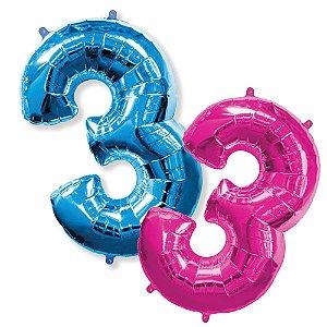 Balão Metalizado Número 3 - 1 Metro.