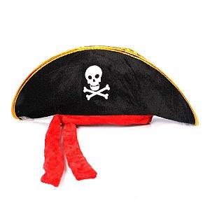 Chapéu De Pirata C/ Lenço Vermelho