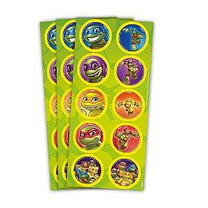 Adesivo Decorativo Redondo Tartaruga Ninja Kids C/30