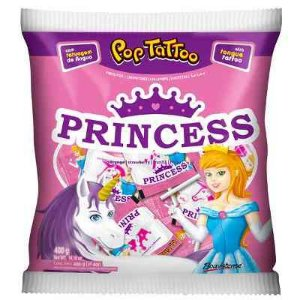 Pirulito Pop Tattoo Princess Morango 400g