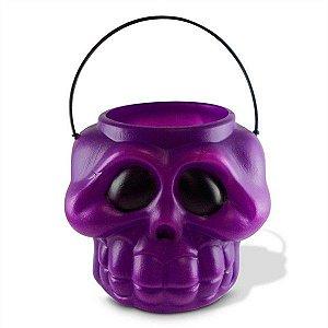 Balde Cabeça de Esqueleto / Caveira Halloween Roxo | Médio