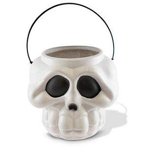 Balde Cabeça Esqueleto Kids C/ Alça Branca Halloween