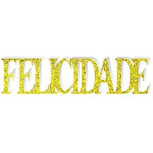 Enfeite Felicidade Provençal C/ Glitter Dourado