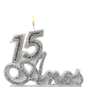 Vela 15 Anos Prata  Glitter