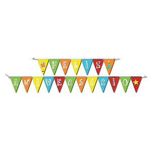 Faixa Feliz Aniversario Colorido