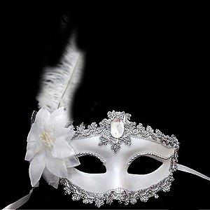 Máscara Nupcial/noiva Luxo C/ Pedra, Flor E Pena