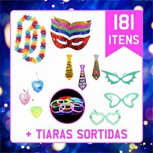 Kit Festa C/ 181 Itens. Adereços Balada, Casamento e 15 Anos