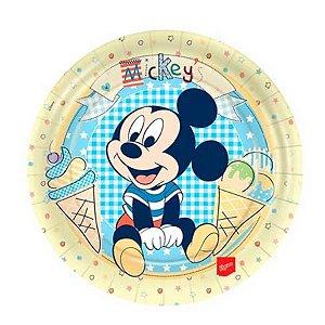 Prato Descartável Redondo Mickey C/8