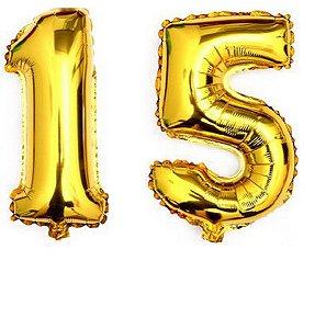 Balão  Metalizado Dourado Número 15  - 80cm