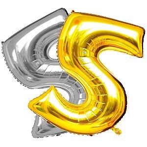 Balão Metalizado Dourado e Prata  Número 5  - 80cm