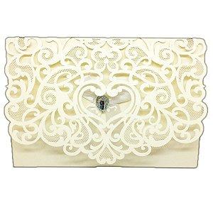 Envelope P/ Convite Casamento Luxo C/ Laço e Brilhante C/100
