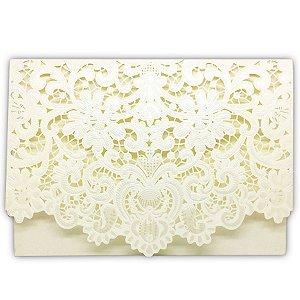 Envelope P/ Convite de Casamento Luxo Ret. Rendado C/200