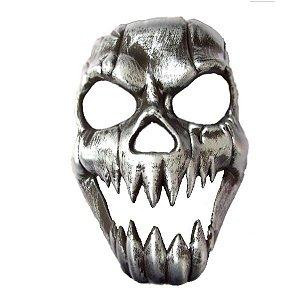 Máscara Caveira Metalizada Prateada Halloween
