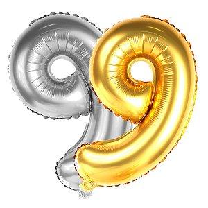 Balão Metalizado Dourado E Prata Número 9   80cm