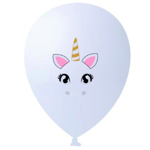 Balão | Bexiga HappyDay Nº11 | Unicórnio Branco | C/25