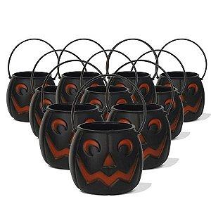 Balde | Caldeirão Abóbora Halloween Preto | Médio | C/20
