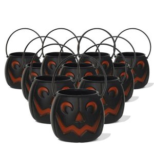 Balde | Caldeirão Abóbora Halloween Preto | Médio | C/100