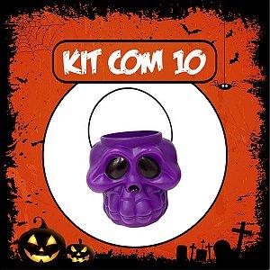 Balde Esqueleto / Caveira Halloween Roxo | Grande | Kit C/10