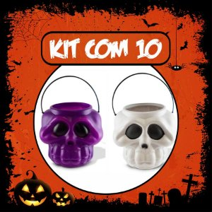 Balde Esqueleto / Caveira Halloween Grande | Kit Misto C/10