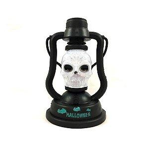 Mini Lanterna Caveira Halloween Com Luz e Som