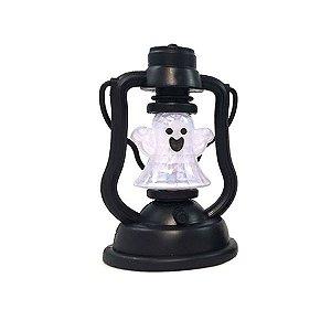 Mini Lanterna Fantasma Halloween Com Luz e Som